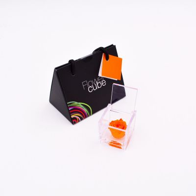 Mini Flowercube | Rosa stabilizzata color arancio