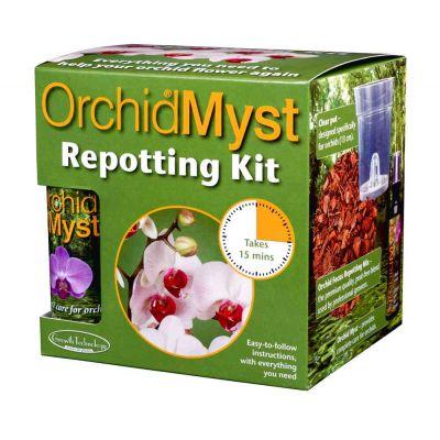 Orchidea kit per il rinvaso: Orchid Myst 100 ml + Terriccio + vaso trasparente