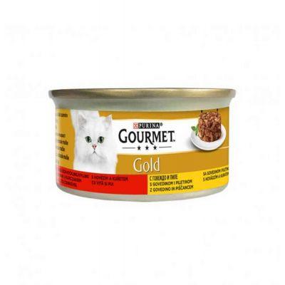 Gourmet gold Intrecci con manzo e pollo umido gatto da 85 g