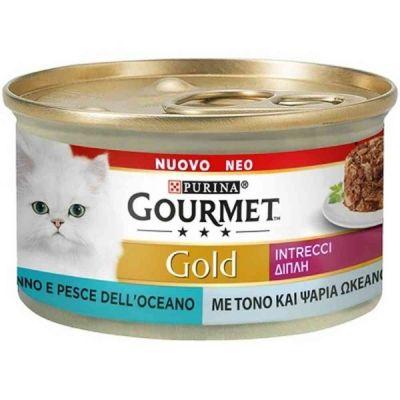 Gourmet Gold gatto intrecci con tonno e pesce dell'oceano da 85 g