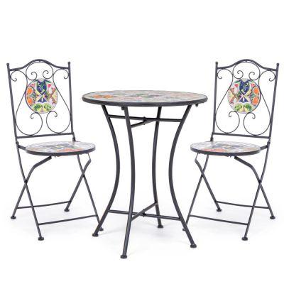 Paloma Set Tavolino con ceramica Ø 60 + 2 sedie pieghevoli