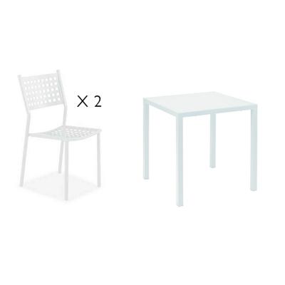 Tavolo da giardino Quatris + 2 sedie Alice