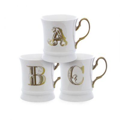 Letter mug gold f