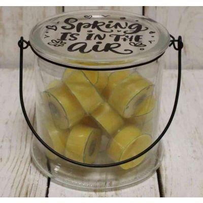 Vaso in vetro con 16 tealights