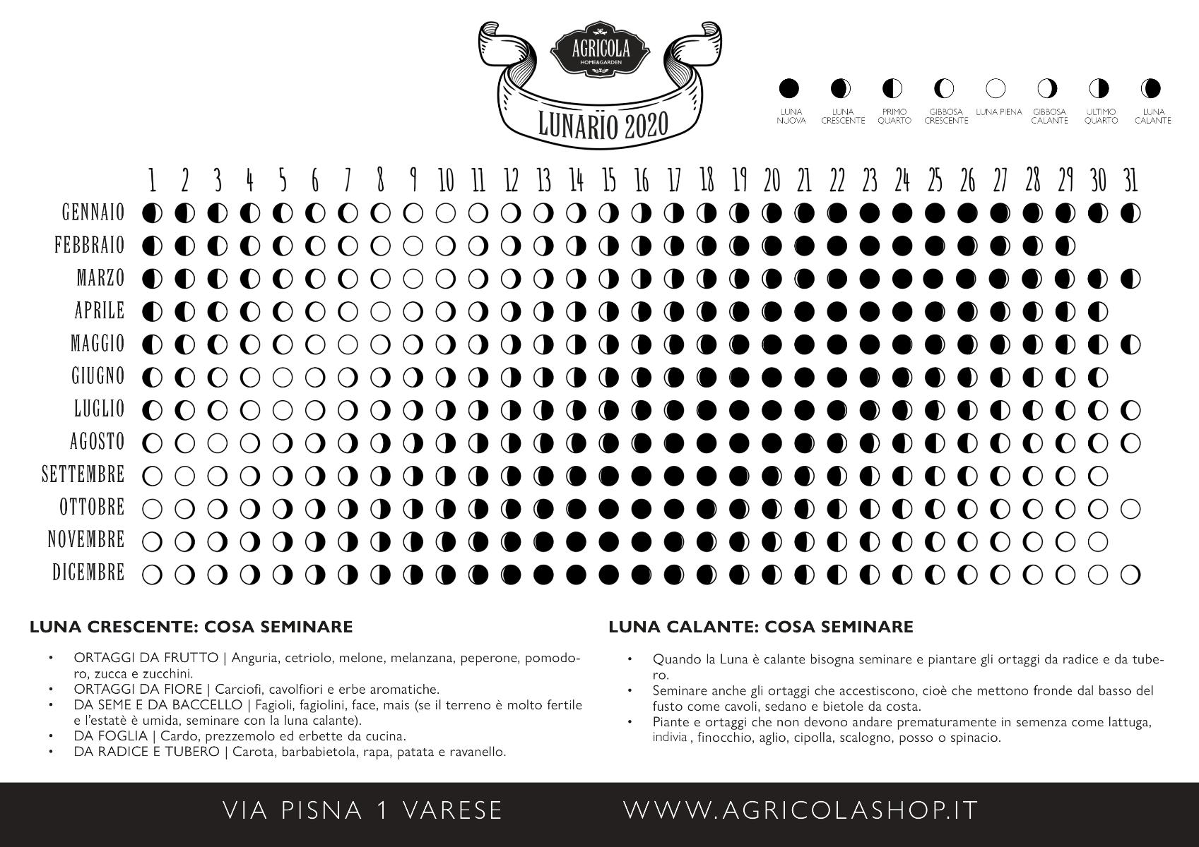 Lunario 2020: Calendario lunare 2020 per la semina | AgricolaShop